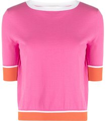 snobby sheep colour-block knit top - pink