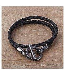 leather braided wrap bracelet, 'braided jet black' (peru)