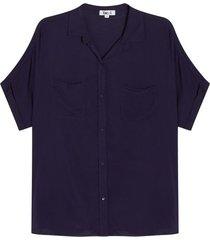 camisa con bolsillos unicolor color azul, talla 8