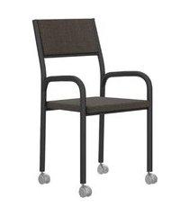 cadeira de escritório tubos pretos tecido chumbo carraro