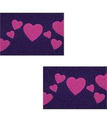 2 tapetes capacho decorativo 60x1,2m love - roxo - feminino - dafiti