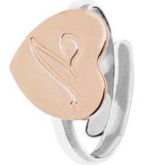 anello cuore in argento 925 bicolore per donna
