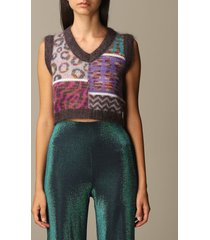 m missoni sweater v sleeveless short jacquard patterned