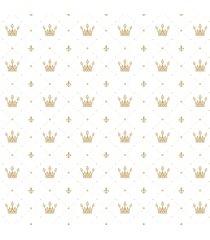 papel de parede adesivo infantil coroa dourada 2,70x0,57m - dourado - dafiti
