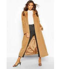 longline faux fur coat, camel