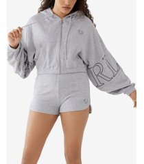 women's cropped zip front logo hoodie