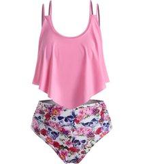 plus size ruffled overlay skull floral print tankini swimwear