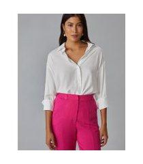 amaro feminino camisa básica manga 7/8, off-white