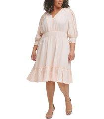 calvin klein plus size solid smocked v-neck dress