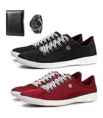 kit 2 pares sapatênis masculino com relógio e carteira preto e vermelho