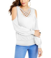 thalia sodi animal-print strappy cold-shoulder top, created for macy's