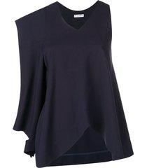 asymmetric patch pocket blouse