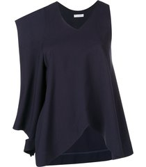 asymmetric patch pocket blouse blue