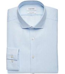 calvin klein light blue woven stripe slim fit dress shirt