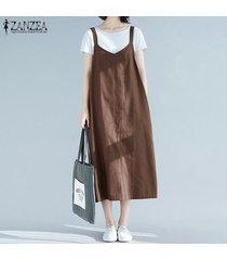 zanzea de las nuevas mujeres de gran tamaño de verano sin mangas con cuello en v correas flojas ocasionales de vestido a media pierna -café