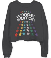 junk food cotton wonder woman-graphic cropped raw-edge sweatshirt