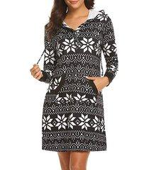 geo print button placket hoodie dress