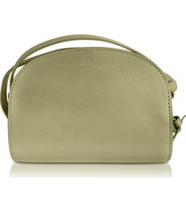 a.p.c. designer handbags, green leather mini demi-lune crossbody bag