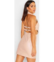 buckle back belted pu mini dress, nude