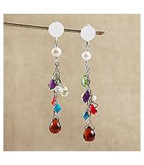 cultured pearl and amethyst dangle earrings, 'joyous song' (mexico)