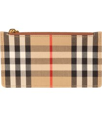 burberry top-zip checked card holder