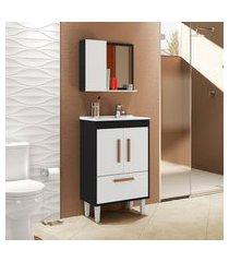 conjunto para banheiro toronto 4 portas móveis bechara preto e branco