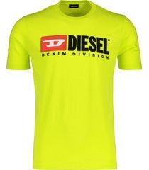 diesel t-shirt ronde hals logo opdruk neon geel