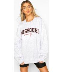 extreem oversized missouri sweater met tekst, grey