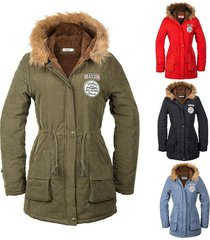 new fashion women jacket winter solid hooded coat casual outerwear fur collar