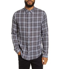 men's vince classic fit plaid button-up shirt, size large - black