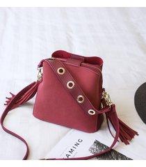 secchio a 3 strati con nappe vintage satinato borsa spalla borsa per le donne