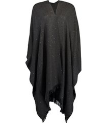 black cashmere and silk frayed poncho
