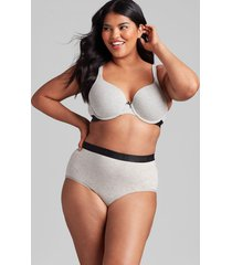 lane bryant women's cotton full brief panty with wide waistband 34/36 heather grey