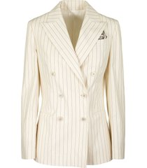 brunello cucinelli blazer stretch cotton pinstripe poplin blazer with monili