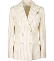 brunello cucinelli blazer stretch cotton pinstripe poplin blazer with monili