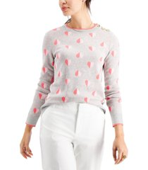 charter club printed button-shoulder sweater, created for macy's
