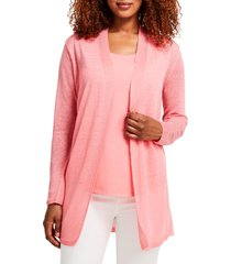 women's nic+zoe open front linen blend long cardigan, size x-small - pink