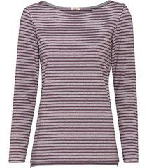 gestreept shirt van bio-katoen met lange mouw en boothals, grijs/pruim-gemêleerd 40