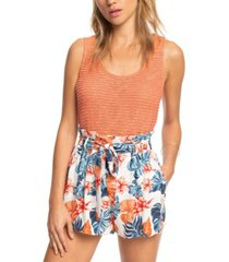 roxy juniors' steal the sun floral-print paperbag shorts