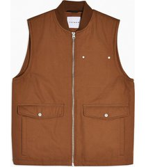 mens brown tan quilted vest