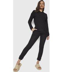 conjunto poler+on + jogger missguided waffle loungewear hoodie & jo negro - calce regular