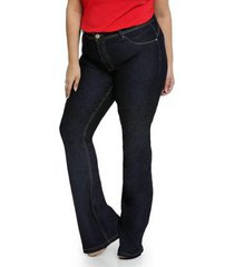 calça jeans plus size biotipo flare feminina