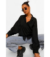 woven blouson oversized sleeve shirt, black