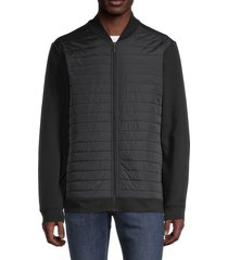 perry ellis men's quilted long-sleeve jacket - black - size xl