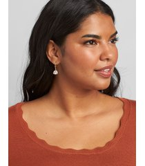 lane bryant women's clear faceted stone drop earrings onesz gold tone