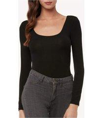 body feminino de manga comprida de modal com decote redondo intimissimi modal preto