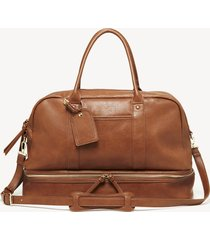 women's mason weekender vegan leather in color: cognac bag from sole society