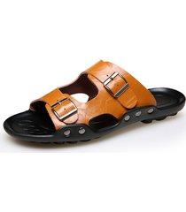 sandali da uomo in metallo con fibbia in metallo di grandi dimensioni
