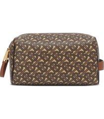 burberry monogram double-zip travel bag - brown