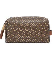 burberry monogram double-zip travel bag - brown